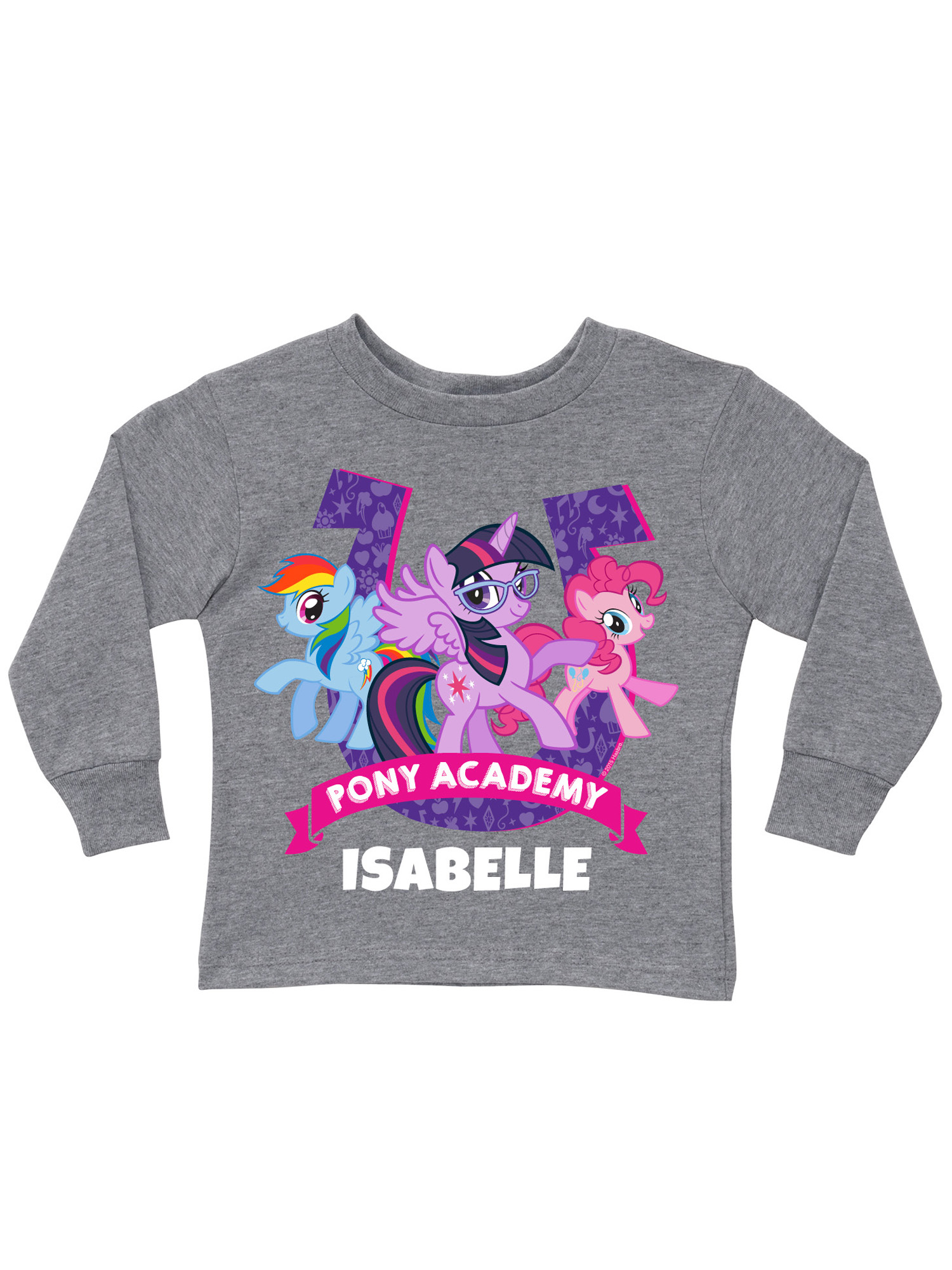 Personalized My Little Pony Academy Gray Toddler Girls' Long Sleeve T-Shirt