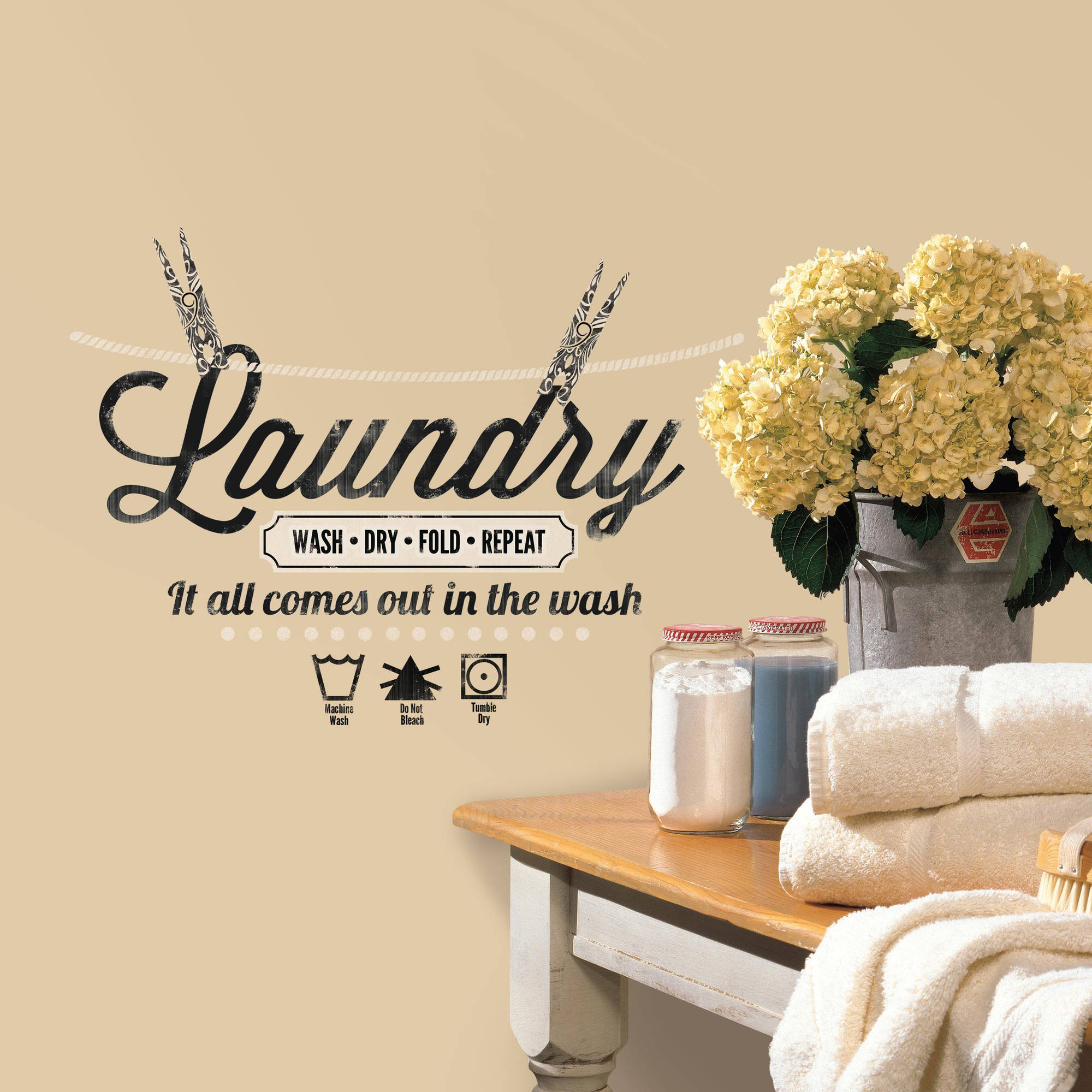 Laundry Quote Peel And Stick Wall Decals Walmart Com