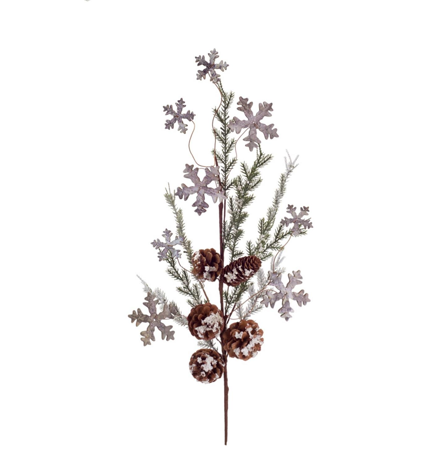 "28"" Subtle Colored Artificial Christmas Cedar Spray with Snowflakes and Pine Cones"