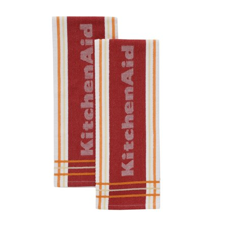 Kitchenaid Striped Kitchen Towels, Red, Set of 2, Multiple Colors