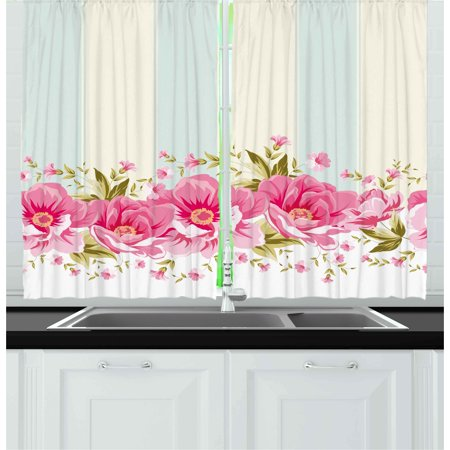 Vintage Curtains 2 Panels Set, Pink Peony Border on Vertical Striped ...