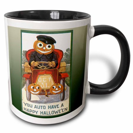 Happy Halloween Please Take Two (3dRose Vintage You Auto Have a Happy Halloween Jack O Lantern Driving Antique Car - Two Tone Black Mug,)