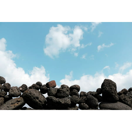 LAMINATED POSTER Sea Sky Mark Jeju Island Beach Stone Wall Cloud Poster Print 24 x