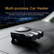 Topboutique Car Heater Portable 30 Seconds Fast Heating Quickly Defrosts Defogger 12V 150W Auto Ceramic Heater Cooling Fan 3-Outlet Plug In Cig Lighter (Black)