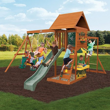 Backyard Playset Reviews kidkraft sandy cove wooden playset - walmart