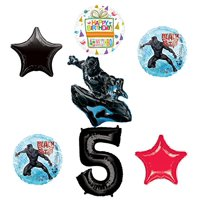 Black Panther 5th Birthday Balloon Bouquet Decorations and Party Supplies