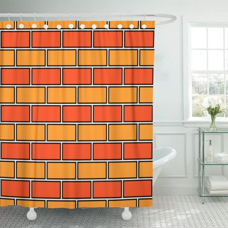 PKNMT Yellow Brick Wall Abstract Orange Colors Classic Geometric Rectangular Shower Curtain 60x72 - Rectangular Window Wall