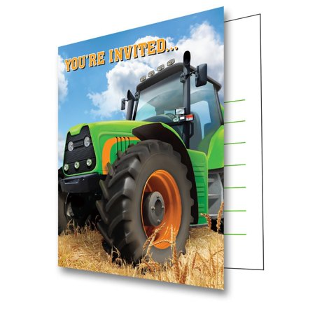 Tractor Time Birthday Party Invitations (8 Count), One package of 8 Tractor Time Party Invitations By Creative Converting - Tractor Birthday Supplies