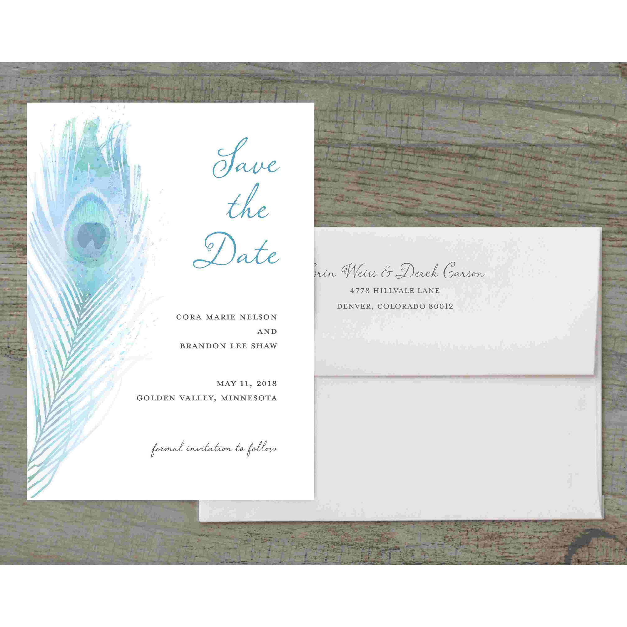 Painterly Plume Deluxe Save the Date