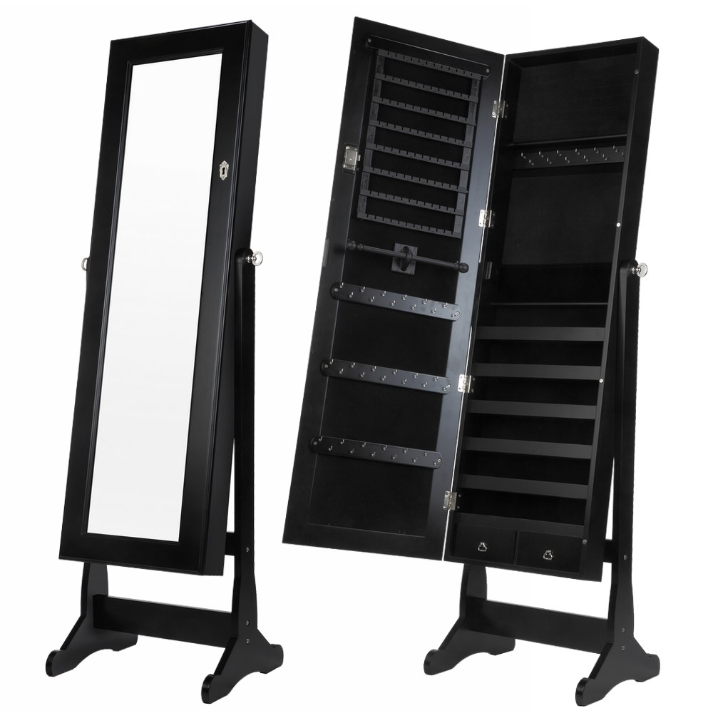 Homegear Modern Mirrored Jewelry Cabinet With Stand Armoire Organizer Black