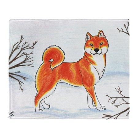 CafePress - Shiba In The Snow - Soft Fleece Throw Blanket, 50