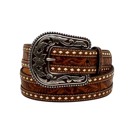 Nocona Western Belt Womens Tooled Buck Stitching Rope Tan N3523208](Rope Belt)