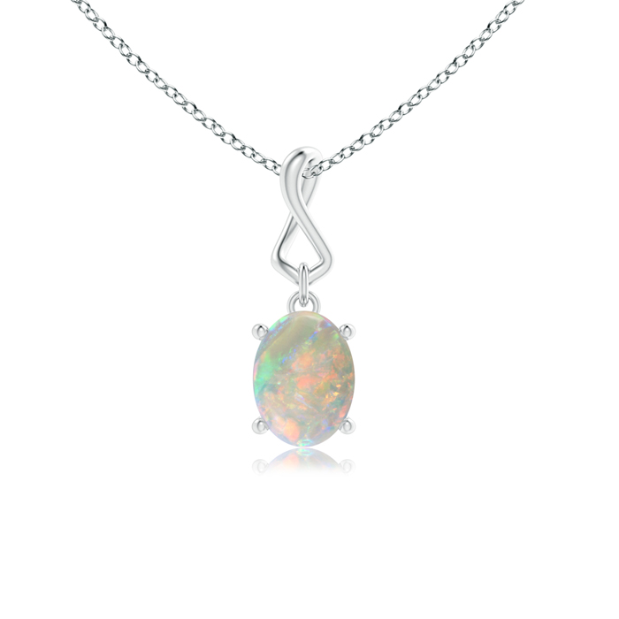 Mother's Day Jewelry Necklace Solitaire Oval Opal Infinity Drop Necklace Pendant in 950 Platinum (8x6mm Opal)... by Angara.com