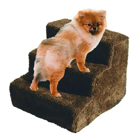 Dog Pet Stairs - Dog Stairs Pet Steps 3 Step Ladder Fleece Covered Staircase Indoor Ramp Kitten Cat Puppy