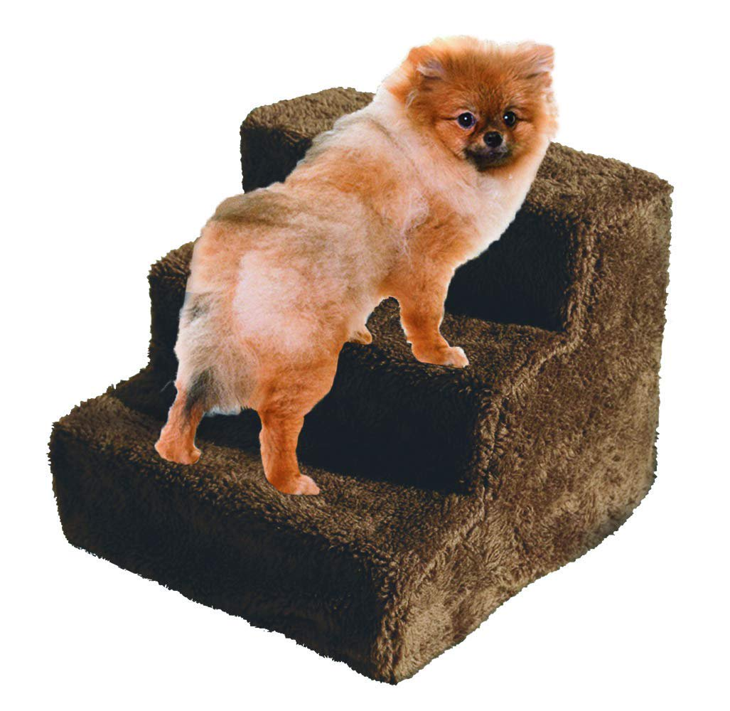 Dog Stairs Pet Steps 3 Step Ladder Fleece Covered Staircase Indoor Ramp  Kitten Cat Puppy