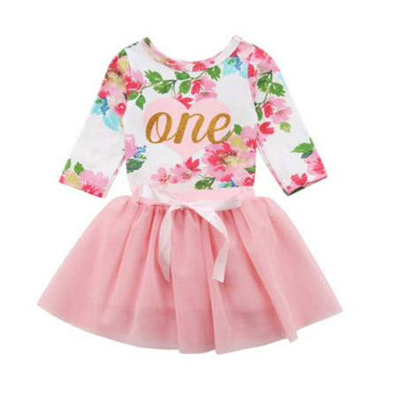 Baby Girls 1st Birthday Outfits Long Sleeve Floral Romper With Tutu Skirt Set 0-6 Months - Baby Girl First Birthday Party Supplies