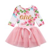 Baby Girls 1st Birthday Outfits Long Sleeve Floral Romper With Tutu Skirt Set 0-6 Months