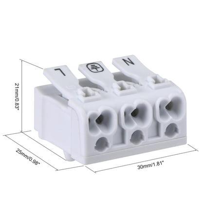 Spring Wire Connectors, Quick Connector No Screws Terminal Block 3 Positions 50pcs - image 1 of 3
