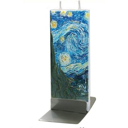 Flatyz Handmade Twin Wick Thin Flat Candle - Van Gogh The Starry Night