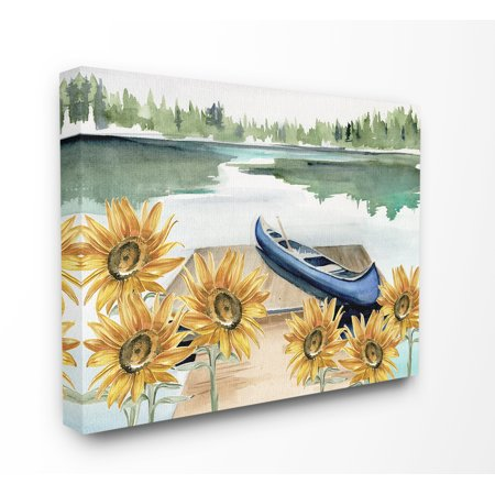 The Stupell Home Decor Collection Rowboat on a Calm Lake with Sunflowers Watercolor Painting Stretched Canvas Wall Art, 16 x 1.5 x 20