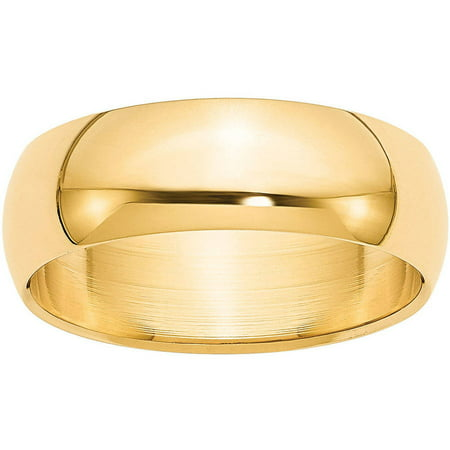 14k 7mm Half-Round Wedding Band