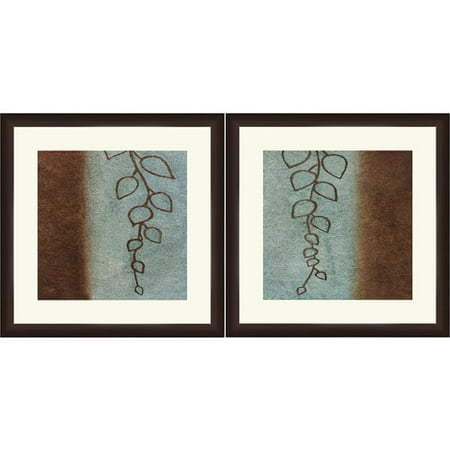 framed graphic blue and brown leaves wall art 18 x 18
