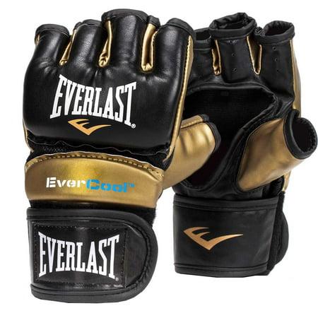 Everlast Everstrike L/XL Light Bag MMA Grappling Training Gloves, Black and Gold