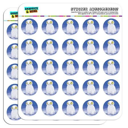 "Snowy Owl Bird Snow 1"" Scrapbooking Crafting Stickers"