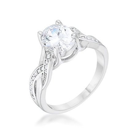 Classic | Engagement Ring for Woman Clear Round | Oval Cubic Zirconia Pave | Prong Setting Size