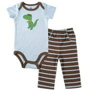 Boys 0-12 Months Applique Bodysuit Pant Set Light Blue 0-3 Months