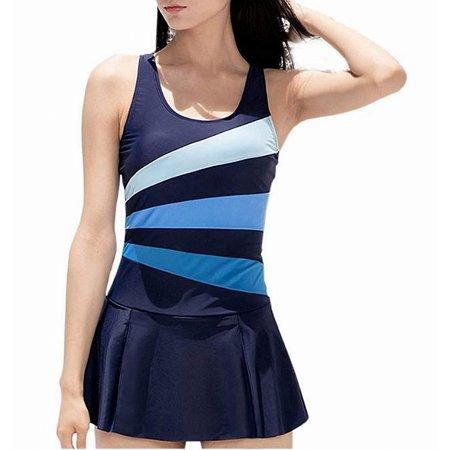 de1dd662a02a8 Danify Swimwear - Danify Womens Medium Slimming Colorblock Swimdress -  Walmart.com