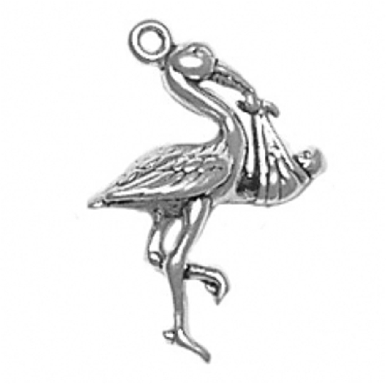Sterling Silver Girls .8mm Box Chain 3D Standing Flamingo Pendant Necklace