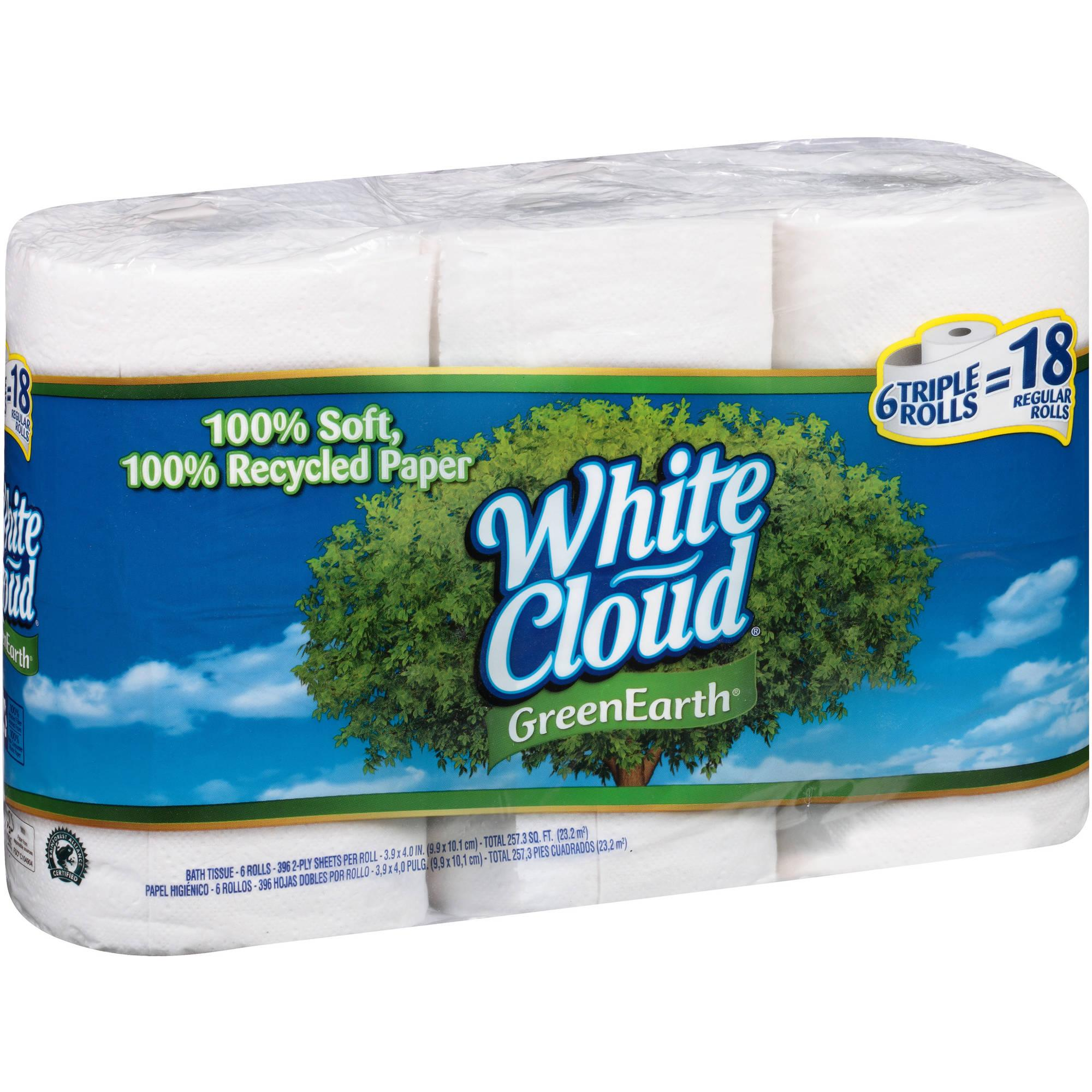 White Cloud GreenEarth, 6 Recycled Toilet Paper Rolls, 396 Sheets Each