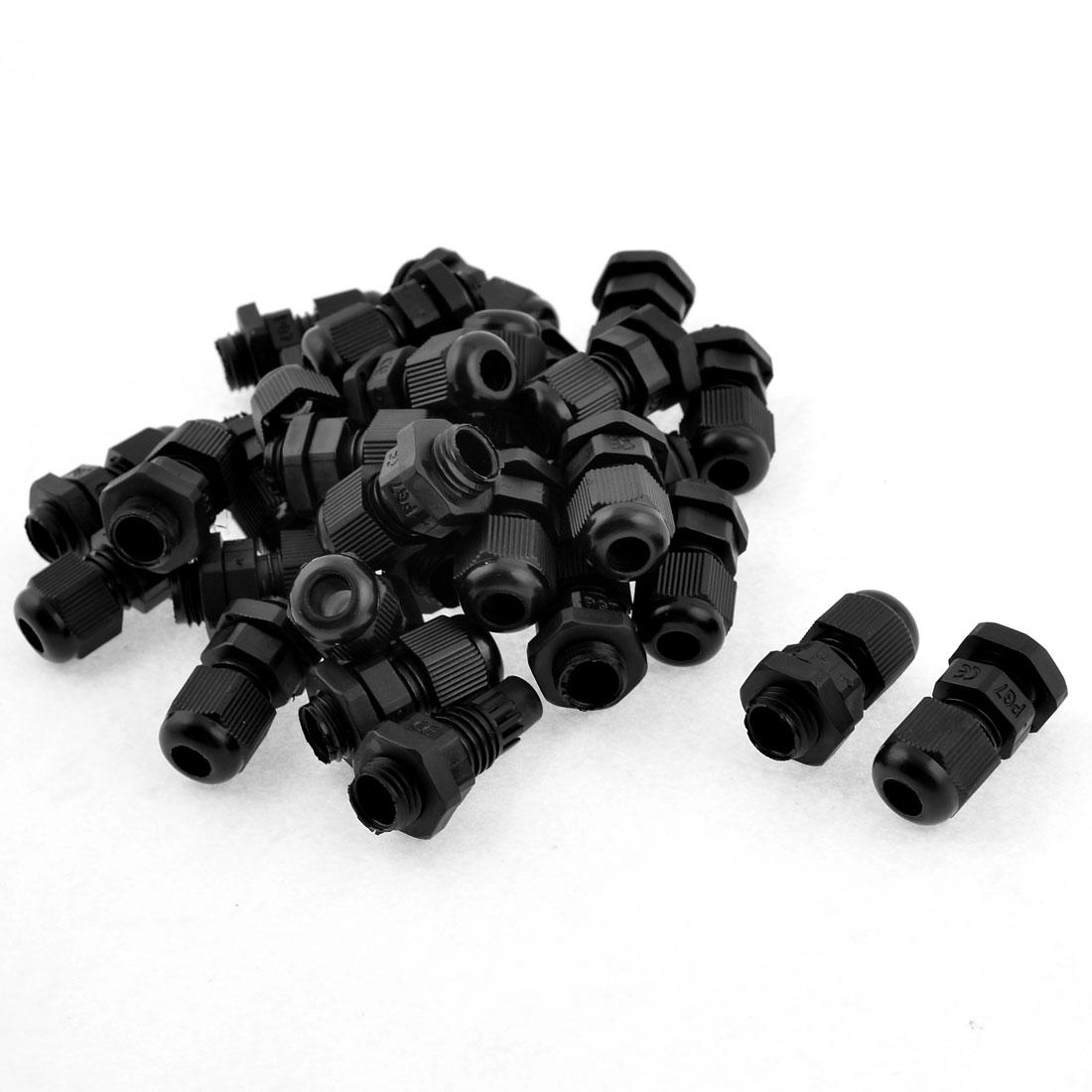 Unique Bargains 30 Pcs Plastic Waterproof Connector 4-7mm Dia Cable Gland PG7 Black