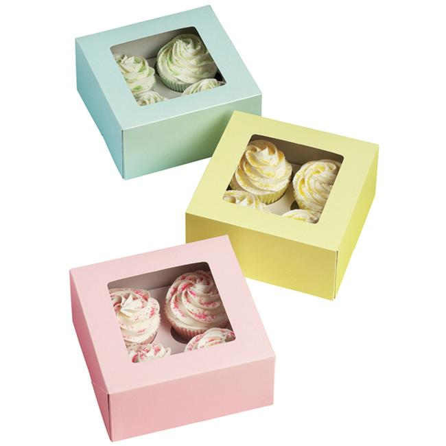 Wilton 738046 4 Cavity Cupcake Box in Pink-Blue-Yellow - 3-Package