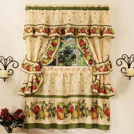 August Grove Cadell Traditional Elegance Apple Orchard Cottage 5 Piece Kitchen Curtain Set