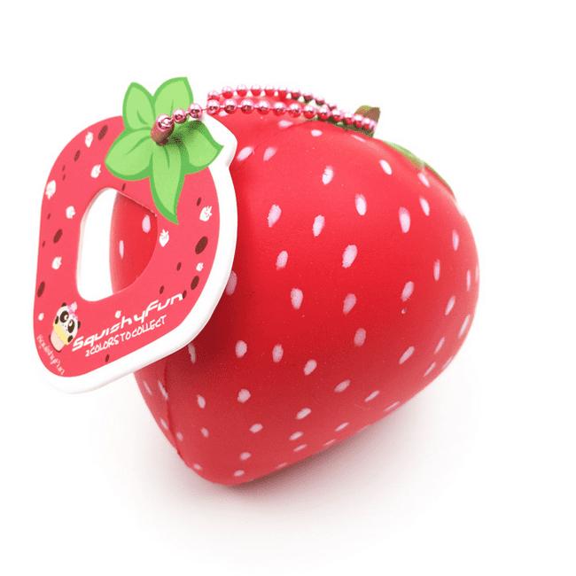 Grtsunsea 8CM Strawberry Jumbo Squishy Toys Stress Stretch Simulation Phone Straps Pendant Christmas Gift