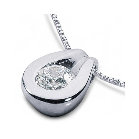 0.38 CT E-SI3 Exc Round Natural Diamond 14k Bezel Setting Solitaire Pendant 1.2g