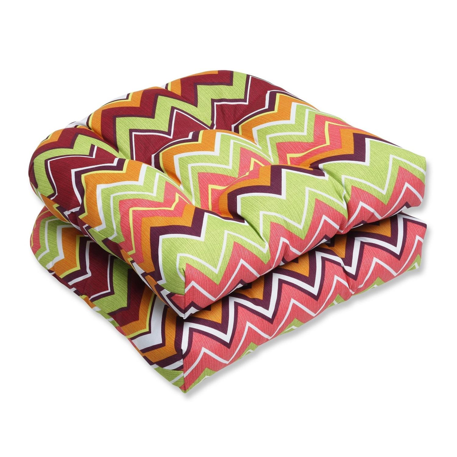 Set of 2 Chevron Surtido Green, Pink and Orange Outdoor Patio Wicker Chair Cushions 19""