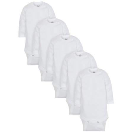 Wonder Nation Long Sleeve Bodysuits, 5-pack (Baby Boy or Baby Girl Unisex)