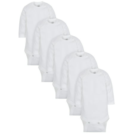 Wonder Nation Long Sleeve White Bodysuit, 5 pack (Baby Boy or Baby Girl Unisex) (Baby Girl Owl)