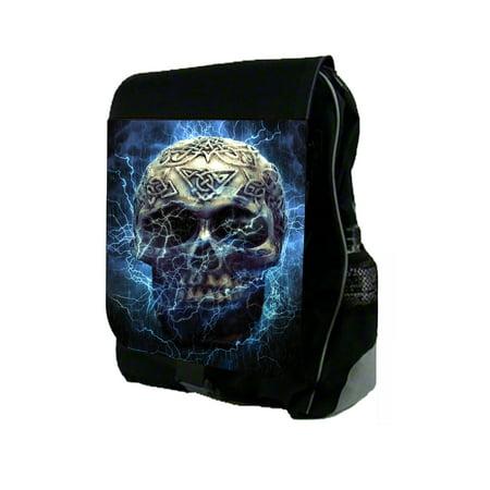 Blazing Blue Electric Skull Large Black School Backpack