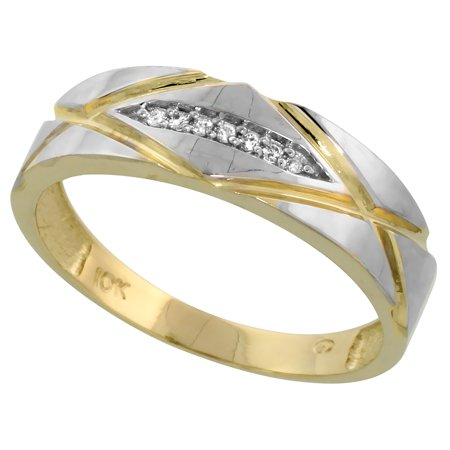 Cut Diamond Ring Band - 10k Yellow Gold Mens Diamond Wedding Band Ring 0.04 cttw Brilliant Cut, 1/4 inch 6mm wide