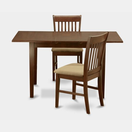 East west furniture norfolk 3 piece slat back dining table for 13 piece dining table set