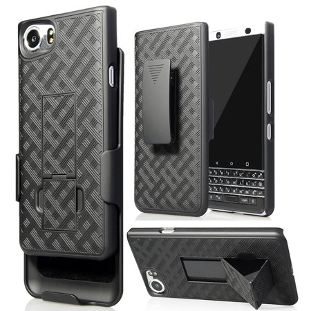 BlackBerry KEYone Clip Case, Nakedcellphone's Black Kickstand Case + Belt Clip Holster for BlackBerry KEYone Phone (Verizon/ATT/Sprint/Unlocked) ()