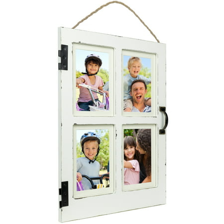 Vintage Farmhouse Window Photo Frame: Rustic Hanging Distressed Wood  Collage Picture Frame. Holds Four 4x6 or 5x7 Photos Frame 4 Barrel