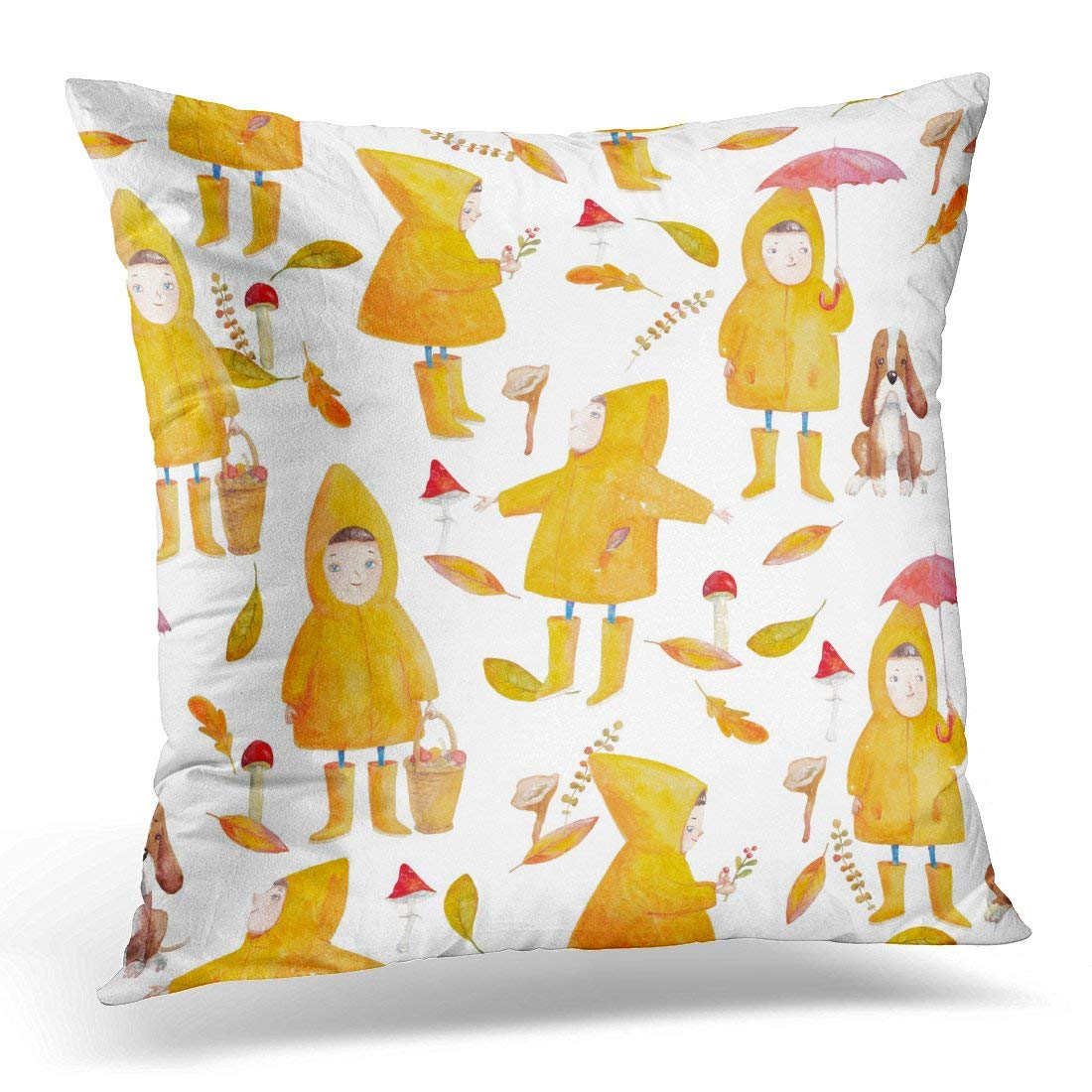 CMFUN Watercolor with Cute Characters and Yellow Leaves Hand with Kids Outdoor Autumn with Small Girl in Forest Pillow Case Pillow Cover 20x20 inch