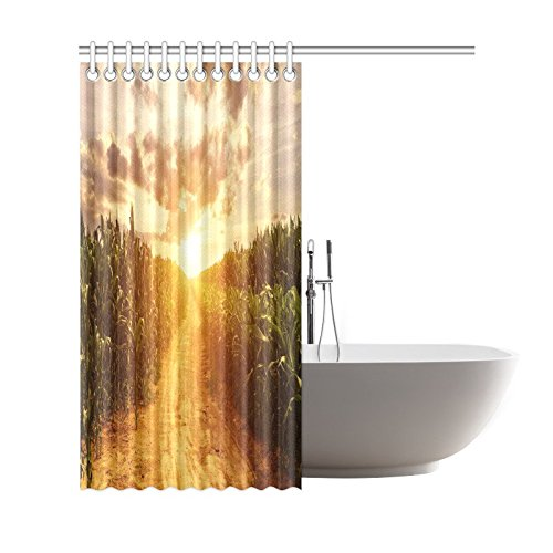 GCKG Corn Field Shower Curtain, Autumn Skyline Polyester Fabric Shower Curtain Bathroom Sets with Hooks 66x72 Inches - image 1 of 3