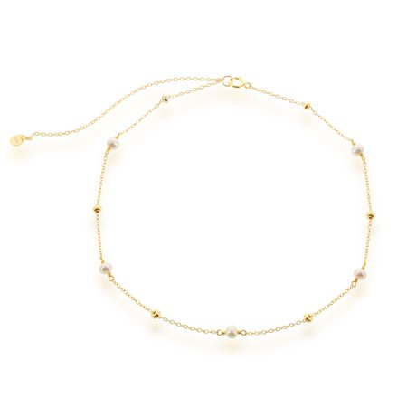 """Sterling Silver Gold-Plated 12"""" + 3"""" Freshwater Pearls and Beads Choker Necklace"""