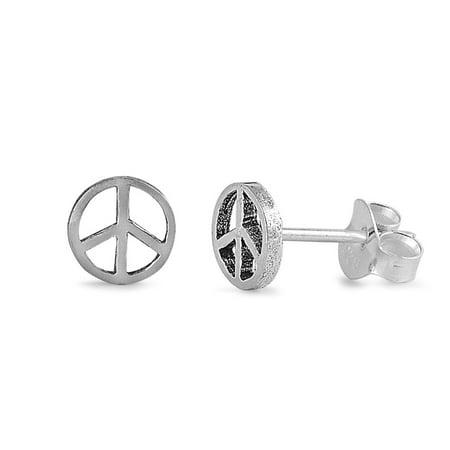 Peace Sign Stud Earrings Sterling Silver - 6mm